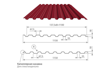 Профилированный лист МП-20х1100